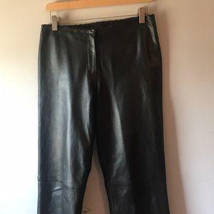 Cache Black leather pants Sz. 6 euc stitched top